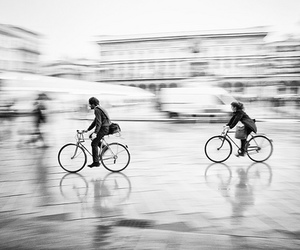 bike, black and white, and photography image