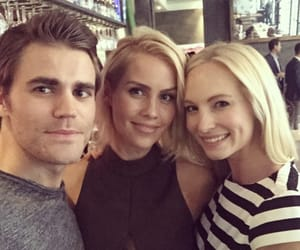 paul wesley, candice accola, and claire holt image