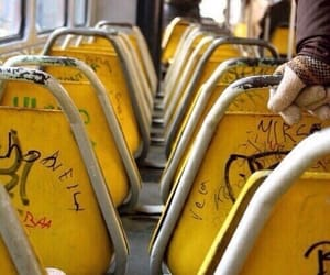 yellow, aesthetic, and bus image