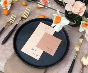 black, gold, and menu image