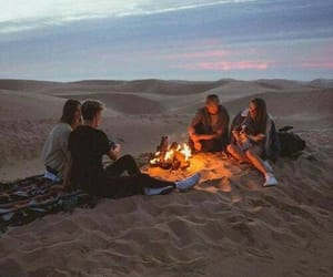 friends, fire, and travel image