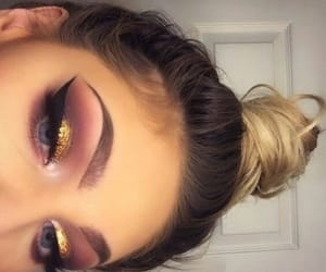 makeup, eyeshadow, and gold image