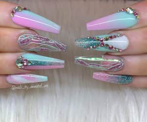 baby blue, pink, and nails image