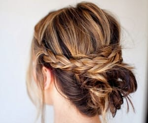 hair, hairstyle, and messy bun image