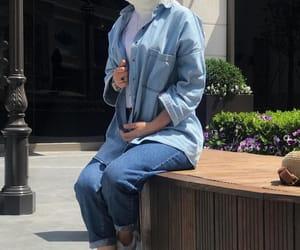 denim, fashion, and hijab image