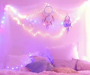 bed, purple, and bedroom goals image