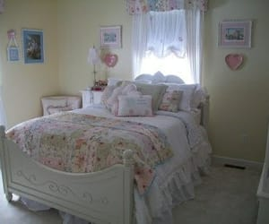 bed, pastel, and bedroom image