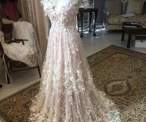 wedding dress, bridal dress, and floral wedding dress image