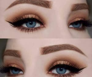 eyebrows, makeup, and blue eyes image