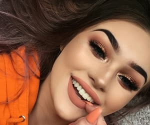 make-up, peach lips, and cute image