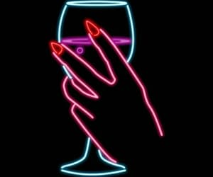 hand, neon, and wine image