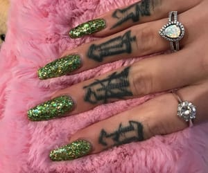 nails, green, and tattoo image