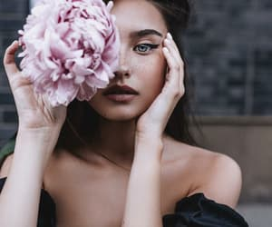 beauty, flower, and girl image