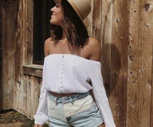 denim shorts, fashion, and hat image