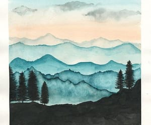 aquarell, mountain, and etsy image