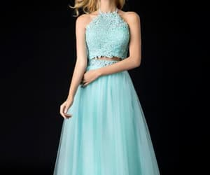 light green, halter prom dress, and cheap prom dresses image