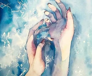 art, hands, and water image