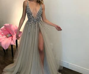 deep v, dresses, and long image