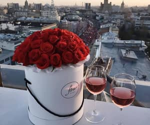 rose, wine, and flowers image