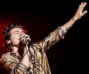 curly hair, Harry Styles, and gold image