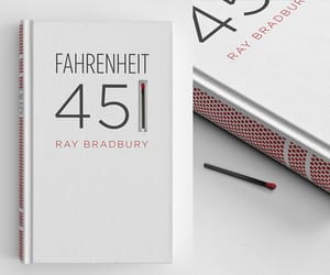 book, fahrenheit 451, and match image
