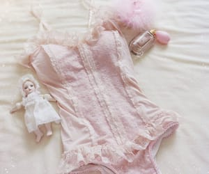lace, pink, and swimsuit image