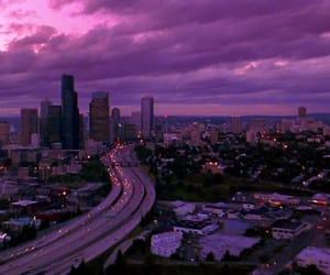 city, purple, and sky image