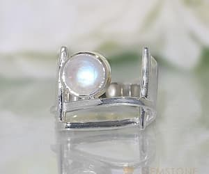 moonstone, sterling silver rings, and moonstone rings image