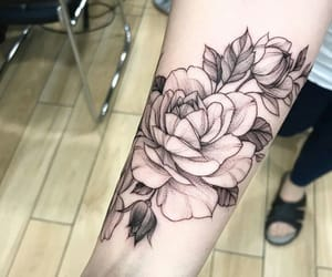 flowers, dotwork, and ink image