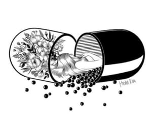 art, pills, and draw image