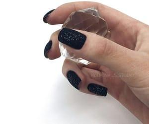 black, manicure, and nail art image