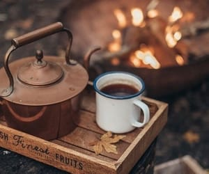 coffee, autumn, and fire image