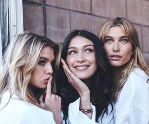 model, bella hadid, and hailey baldwin image