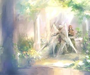 angel, anime, and garden image