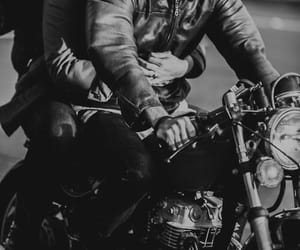 couple, motorcycle, and love image