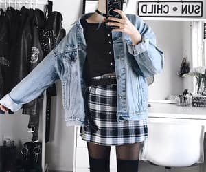 black, plaid skirt, and blue image