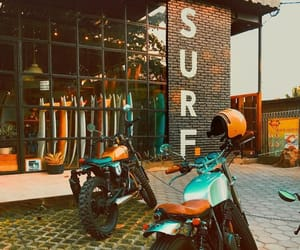beach, motorcycles, and shopping image
