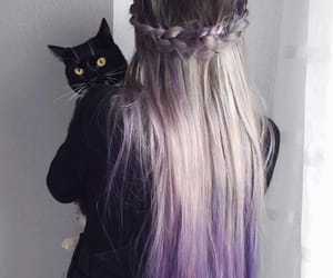 girl, hair, and cat image