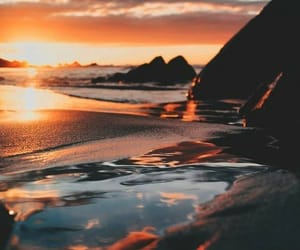 photography, beach, and sunset image