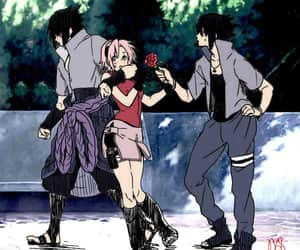 anime, sakura, and sasuke image