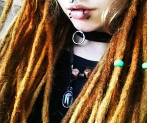 choker, Piercings, and dreadlocks image