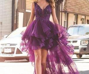 prom dress, purple dress, and high low dress image