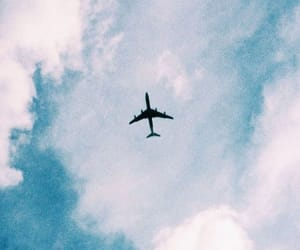 blue, sky, and airplane image