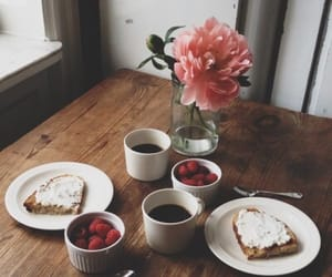 breakfast, flowers, and coffee image