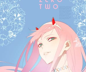 anime, blue, and pink image