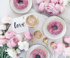 donuts, pink, and pink flowers image