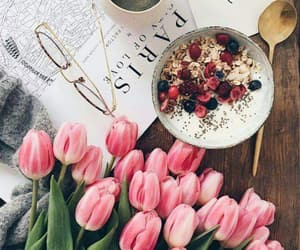 flowers, tulips, and coffee image