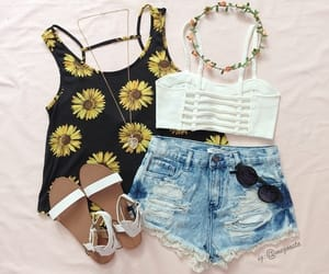 fashion, flower crown, and sandals image