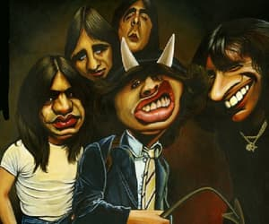 ACDC, angus young, and caricature image