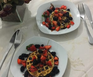 blueberry, waffle, and food image